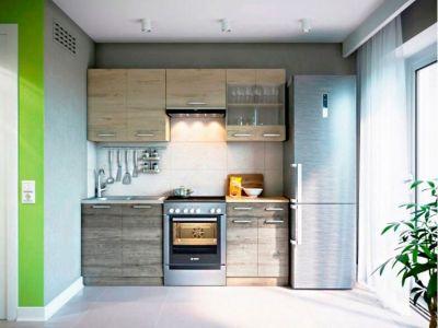 Кухня пряма Марта Світ меблів • Скло + ДСП • 200 см • Фасад Дуб сонома + Дуб трюфель + Корпус Дуб сонома