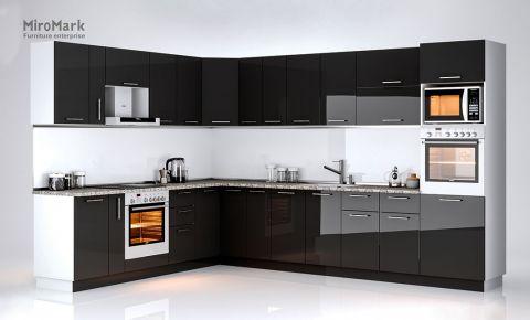 Фото Комплект угловой кухни «Бьянка» 3,4 м Черный глянец - sofino.ua