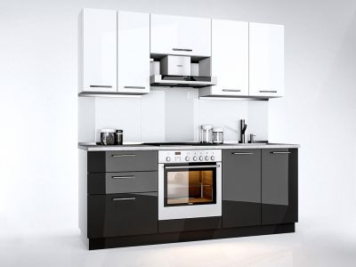 Кухня пряма Міромарк Бянка (ДСП Глянець Білий + Глянець Чорний) 200 см