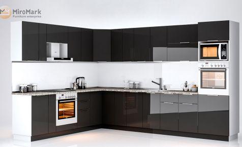 Фото Комплект угловой кухни «Орландо» Черный глянец - sofino.ua