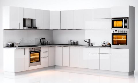 Фото Комплект угловой кухни «Орландо» Белый глянец - sofino.ua