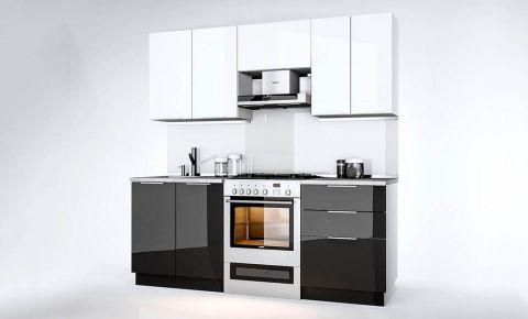 Фото Комплект кухни «Орландо» 2,0 м Белый глянец/Черный глянец - sofino.ua
