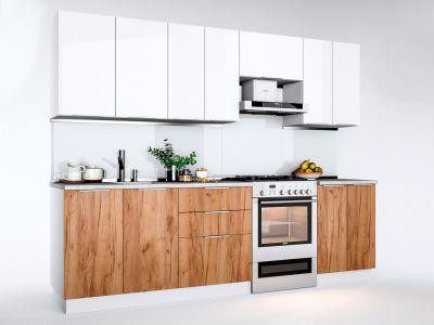 Кухня пряма Міромарк Флоренц (ДСП Глянець Білий + Дуб Крафт) 260 см