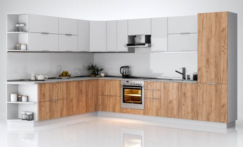 Фото Угловой кухонный гарнитур «Флоренц - 360 cм» гланец белый / Дуб крафт - sofino.ua