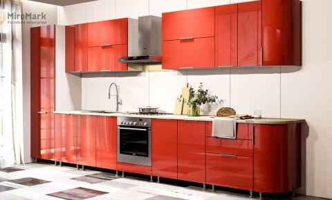 Фото Комплект угловой кухни «Орландо» 4,0 м Глянец красный - sofino.ua