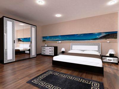 Спальня Міромарк «Віола» 160х200 (Комод 3ш + Шафа 4д) Глянець білий + Мат чорний