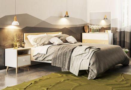 Фото Ліжко - Світ меблів - ДСП - Еріка - Колір Білий   Дуб Сонома - 160х200 см - sofino.ua