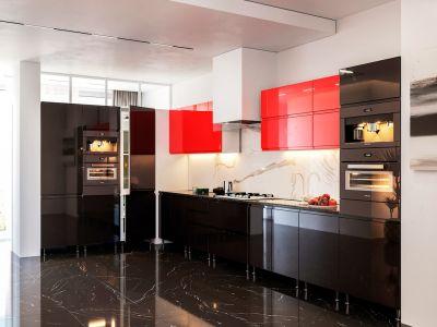 Кухня кутова Міромарк Мілленіум (МДФ Глянець Червоний + Глянець Чорний) 180х370 см