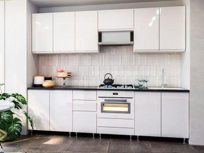 Кухня пряма Міромарк Мілленіум (МДФ Глянець Білий) 260 см