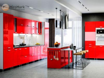 Кухня пряма Міромарк Софія (МДФ Глянець Червоний) 420 см