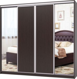 Шкаф-купе 4 двери - Зеркало + ДСП + ДСП + Зеркало