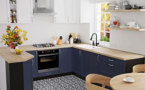 Фото Кухня «Кредо» №638428 Белый   Темно-синий - sofino.ua