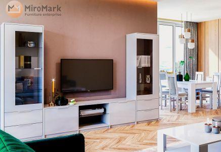 Стінка Міромарк «Рома» (Сервант 1д + Тумба ТВ) Глянець білий