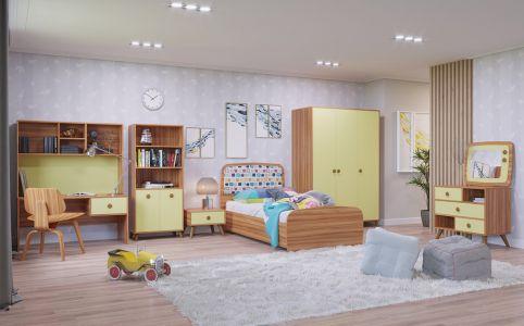 Фото Дитяча кімната Колібрі Світ Меблів ДСП (Дзеркало + Комод + Стіл + Шафа 3Д + Шафа) - sofino.ua