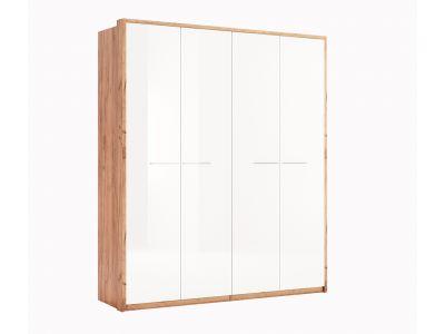 Шафа Міромарк «Нікі 4дв» 213,2x184,4x58,5 Дуб крафт + Глянець білий