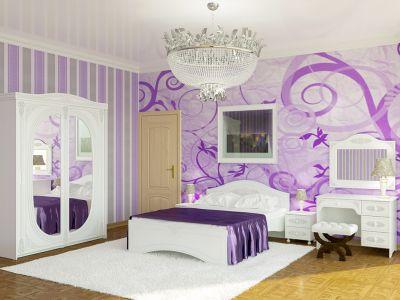 Спальня Белль Біле дерево (Ліжко, Тумбочки АС-04 - 2 шт, Дзеркало АС-08, Стіл АС-06, Шафа купе АС-16)