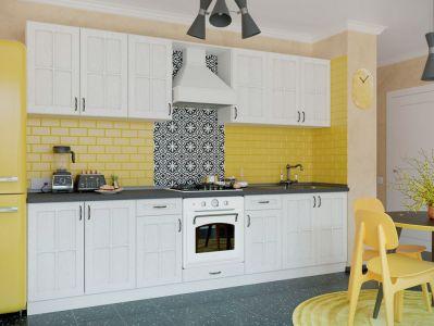Кухня пряма Модена МДФ, 240 см, Білий Д01