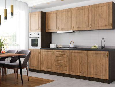 Кухня пряма Грація МДФ, 300 см, Дуб медовий