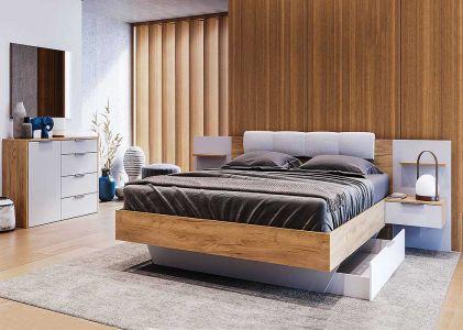 Спальня Асті Дуб Крафт + Глянець Білий (Ліжко з тумбами та шухлядою, Дзеркало, Комод 1Д4Ш)