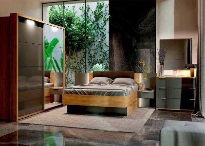 Спальня Луна (М) Дуб крафт + Мат лава (Ліжко з тумбами та шухлядами, Дзеркало, Комод 3Ш, Шафа купе 2Д з підсвіткою)