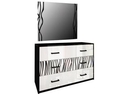Комод з дзеркалом Міромарк «Терра 3ш» 160x120x46 Глянець білий + Мат чорний