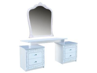 Стіл туалетний з дзеркалом Міромарк «Луїза 4шх» 171x158x45 Глянець білий