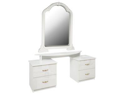 Столик туалетний з дзеркалом Міромарк «Футура 4ш» 183x158x46,6 Глянець білий