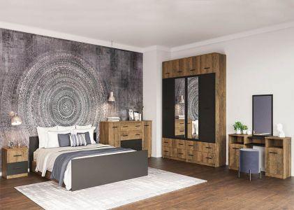 Спальня Лотос Дуб фрегат + Антрацит (Ліжко, Тумбочки 2 шт, Комод, Шафа 4Д, Туалетка)