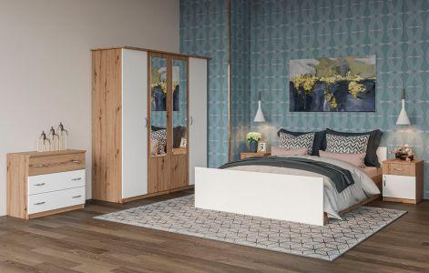 Спальня Кім Дуб артізан + Білий (Ліжко, Тумбочки 2 шт, Комод, Шафа 4Д)