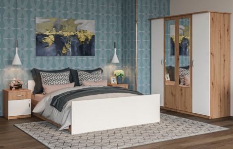 Спальня Кім Дуб артізан + Білий (Ліжко, Тумбочки 2 шт, Шафа 4Д)