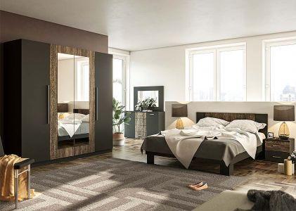 Спальня Лілея Нова Антрацит + Дуб фрегат (Ліжко, Тумбочки 2 шт, Шафа 4Д, Комод, Дзеркало)