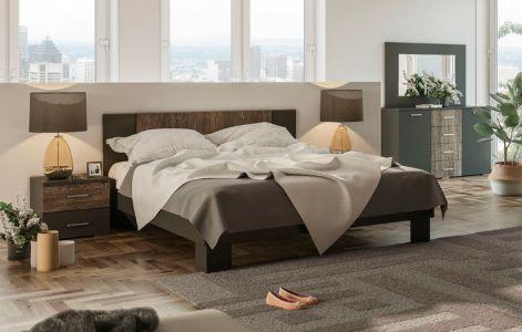Спальня Лілея Нова Світ Меблів • Ліжко, 2 тумбочки, Комод, Дзеркало • Антрацит + Дуб Фрегат