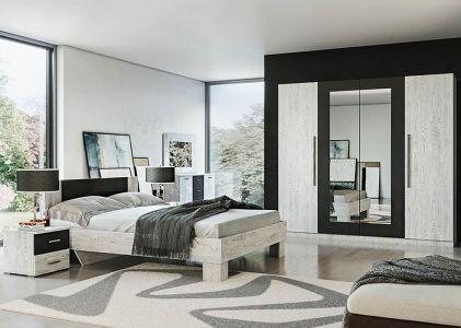 Спальня Лілея Нова Аляска + Антрацит (Ліжко, Тумбочки 2 шт, Шафа 4Д, Комод, Дзеркало)