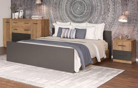 Спальня Лотос Світ Меблів • Ліжко, 2 тумбочки, Комод • Дуб фрегат + Антрацит