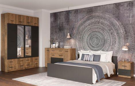 Спальня Лотос Світ Меблів • Ліжко, 2 тумбочки, Комод, Шафа 4Д • Дуб фрегат + Антрацит