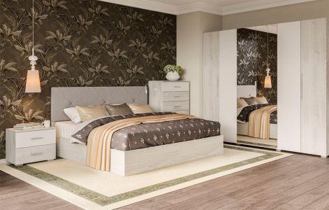 Спальня Ромбо Світ Меблів • Ліжко, 2 тумбочки, Комод 6Ш, Шафа 6Д • Аляска + Білий