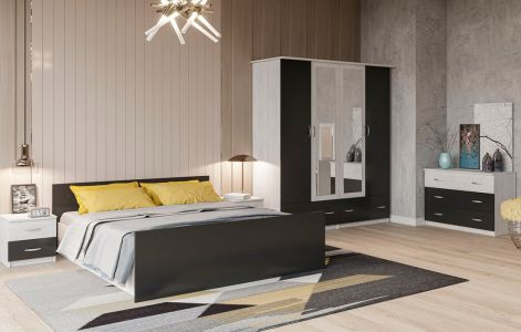Спальня Соня Світ Меблів • Ліжко, 2 тумбочки, Комод, Шафа 4Д • Аляска + Антрацит