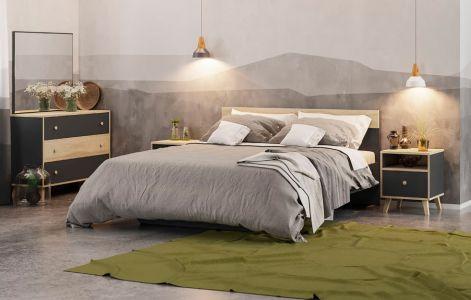 Спальня Еріка Антрацит + Дуб сонома (Ліжко, Тумбочки 2 шт, Комод, Дзеркало)