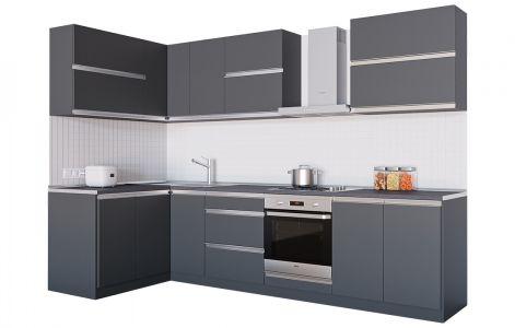 Кухня кутова Альбіна ДСП, 140x290 см, Антрацит