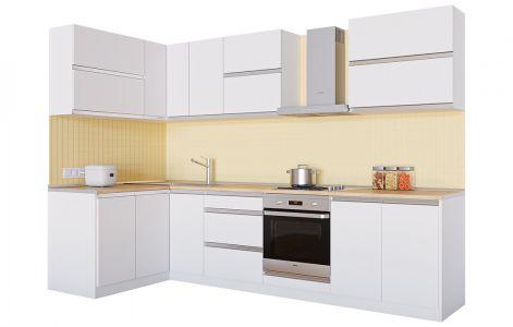 Кухня кутова Альбіна ВІП мастер • ДСП • 290х140 см • Фасад Білий + Корпус Білий