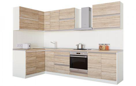 Кухня кутова Альбіна ВІП мастер • ДСП • 290х140 см • Фасад Сонома світлий + Корпус Слонова кістка