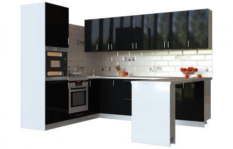 Кухня кутова Мода ВІП мастер • МДФ • 280х210 см • Фасад Чорний лак + Корпус Сірий металік