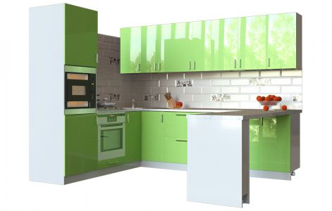 Кухня кутова Мода ВІП мастер • МДФ • 280х210 см • Фасад Фісташка + Корпус Сірий металік