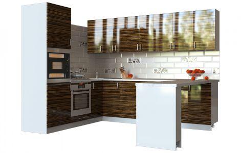 Кухня кутова Мода ВІП мастер • МДФ • 280х210 см • Фасад Зебрано + Корпус Сірий металік