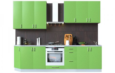 Кухня пряма Мода ВІП мастер • МДФ • 290 см • Фасад Фісташка + Корпус Сірий металік