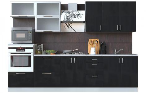 Кухня пряма Мода ВІП мастер • Скло + МДФ • 300 см • Фасад Чорний лак + Корпус Сірий металік