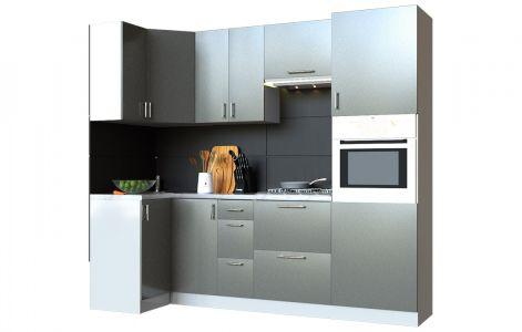 Кухня кутова Мода ВІП мастер • МДФ • 240х90 см • Фасад Грей + Корпус Сірий металік