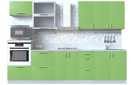 Кухня пряма Мода ВІП мастер • Скло + МДФ • 300 см • Фасад Фісташка + Корпус Сірий металік