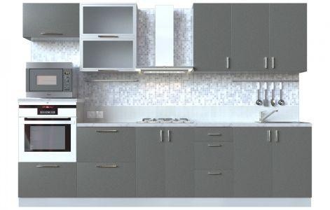 Кухня пряма Мода ВІП мастер • Скло + МДФ • 300 см • Фасад Грей + Корпус Сірий металік