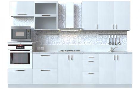 Кухня пряма Мода ВІП мастер • Скло + МДФ • 300 см • Фасад Лайт + Корпус Сірий металік